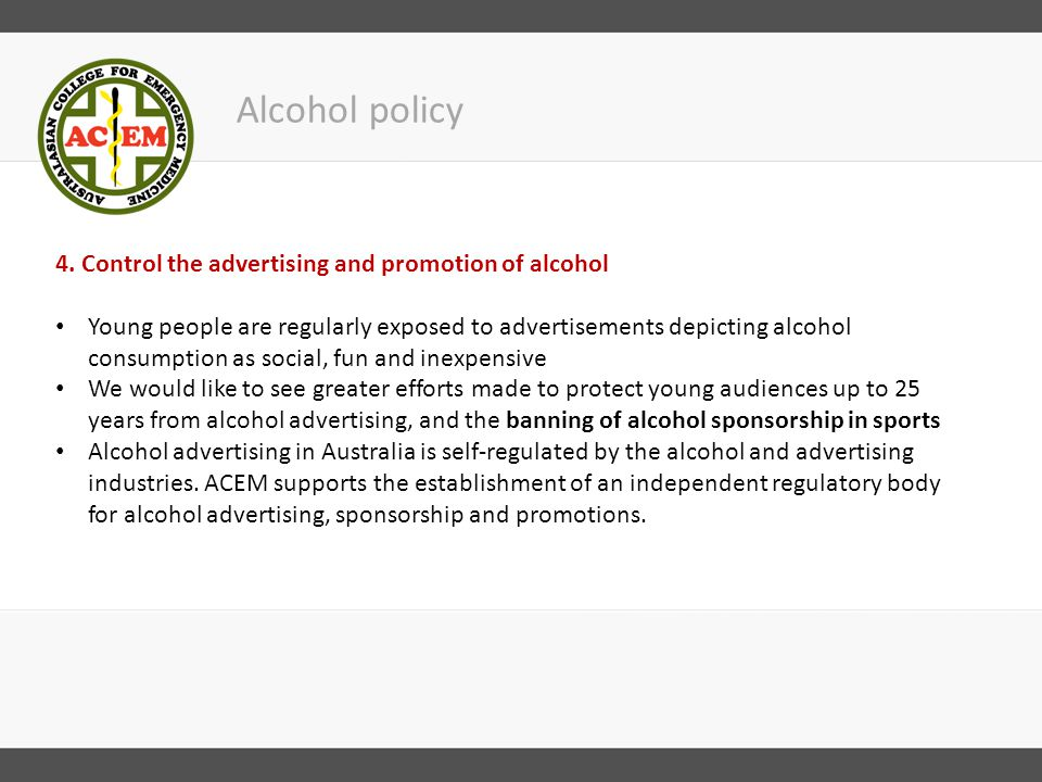 Alcohol policy 4.