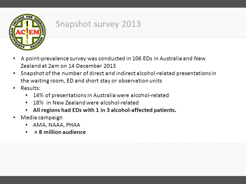 Enough is Enough: Alcohol Harm in EDs 2014 Survey Over 2000 emergency doctors and nurses were surveyed on their perceptions of alcohol-related presentations in their ED Largest survey of its kind to be undertaken in Australia and New Zealand Survey confirms that alcohol-affected patients have a serious impact on staff and other patients in EDs Survey findings will be launched at St Vincent's Hospital, Melbourne on 6 November If you would like to attend the event, email: angela.wadsworth@acem.org.auangela.wadsworth@acem.org.au