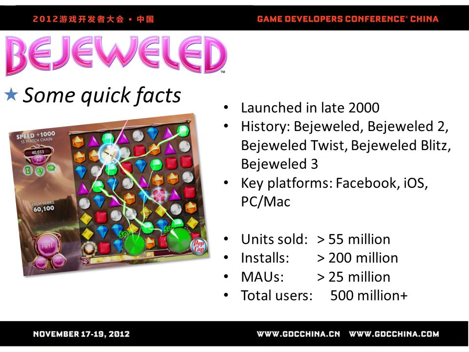  Some quick facts Launched in late 2000 History: Bejeweled, Bejeweled 2, Bejeweled Twist, Bejeweled Blitz, Bejeweled 3 Key platforms: Facebook, iOS,