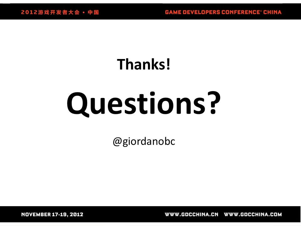 Thanks! Questions @giordanobc