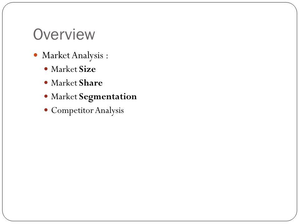 Overview Market Analysis : Market Size Market Share Market Segmentation Competitor Analysis