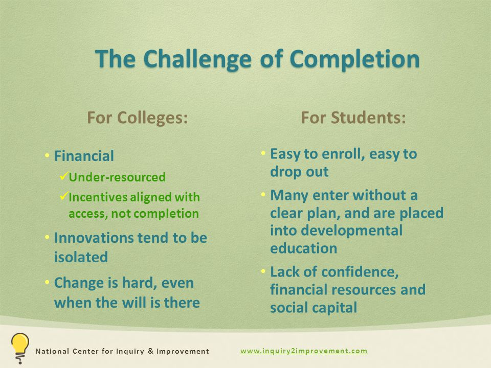 www.inquiry2improvement.com National Center for Inquiry & Improvement The Challenge of Completion For Colleges: Financial Under-resourced Incentives aligned with access, not completion Innovations tend to be isolated Change is hard, even when the will is there For Students: Easy to enroll, easy to drop out Many enter without a clear plan, and are placed into developmental education Lack of confidence, financial resources and social capital