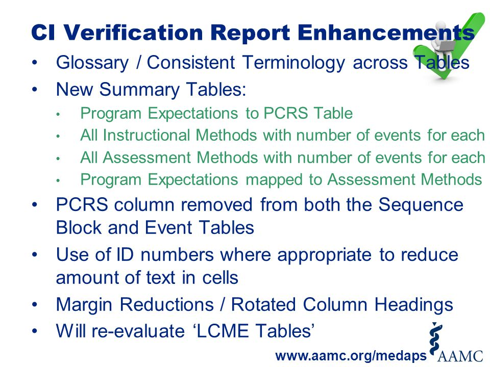 CI Verification Report Enhancements Glossary / Consistent Terminology across Tables New Summary Tables: Program Expectations to PCRS Table All Instruc