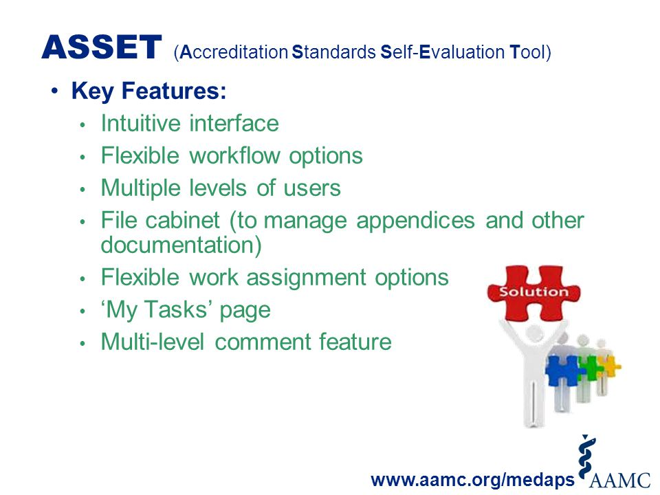 ASSET (Accreditation Standards Self-Evaluation Tool) Key Features: Intuitive interface Flexible workflow options Multiple levels of users File cabinet