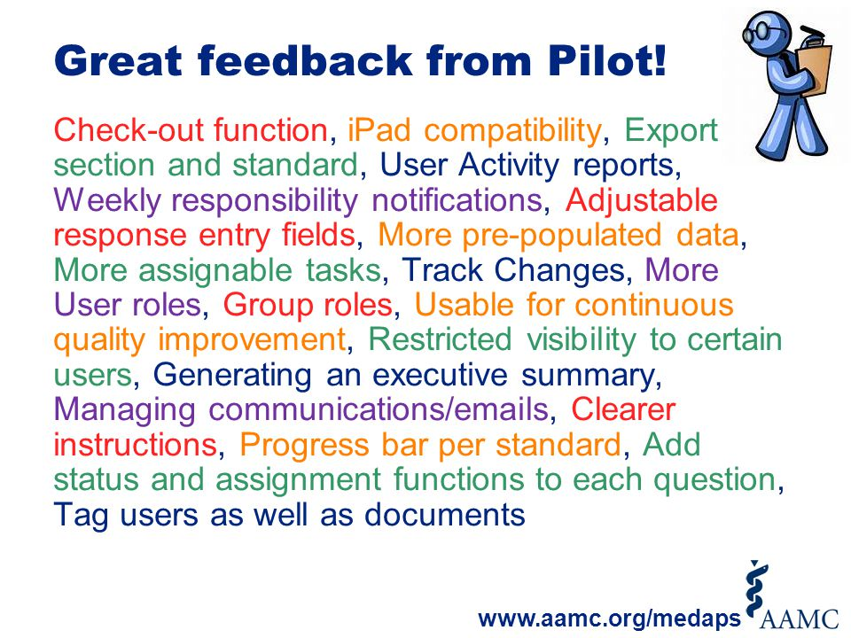 Great feedback from Pilot! Check-out function, iPad compatibility, Export by section and standard, User Activity reports, Weekly responsibility notifi