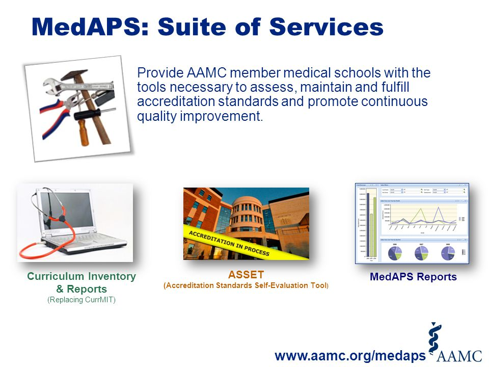 MedAPS: Suite of Services Provide AAMC member medical schools with the tools necessary to assess, maintain and fulfill accreditation standards and pro