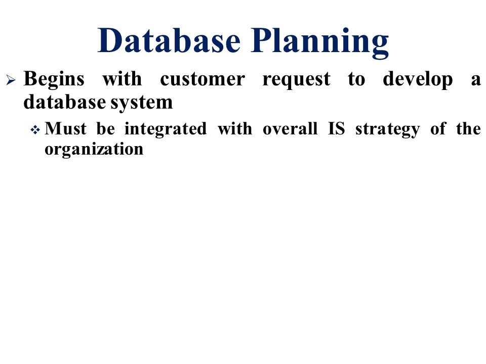 Database Planning  Begins with customer request to develop a database system  Must be integrated with overall IS strategy of the organization