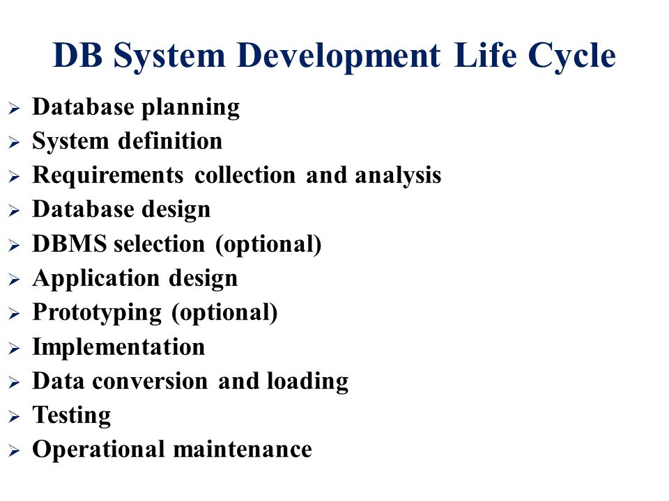 DB System Development Life Cycle  Database planning  System definition  Requirements collection and analysis  Database design  DBMS selection (optional)  Application design  Prototyping (optional)  Implementation  Data conversion and loading  Testing  Operational maintenance
