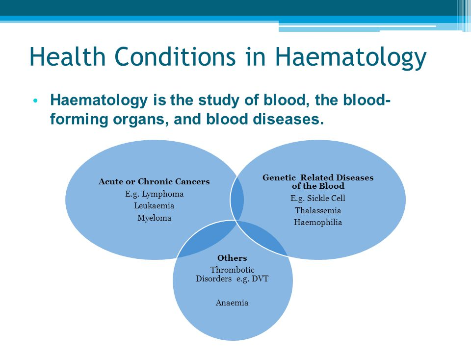 Health Conditions in Haematology Haematology is the study of blood, the blood- forming organs, and blood diseases. Acute or Chronic Cancers E.g. Lymph