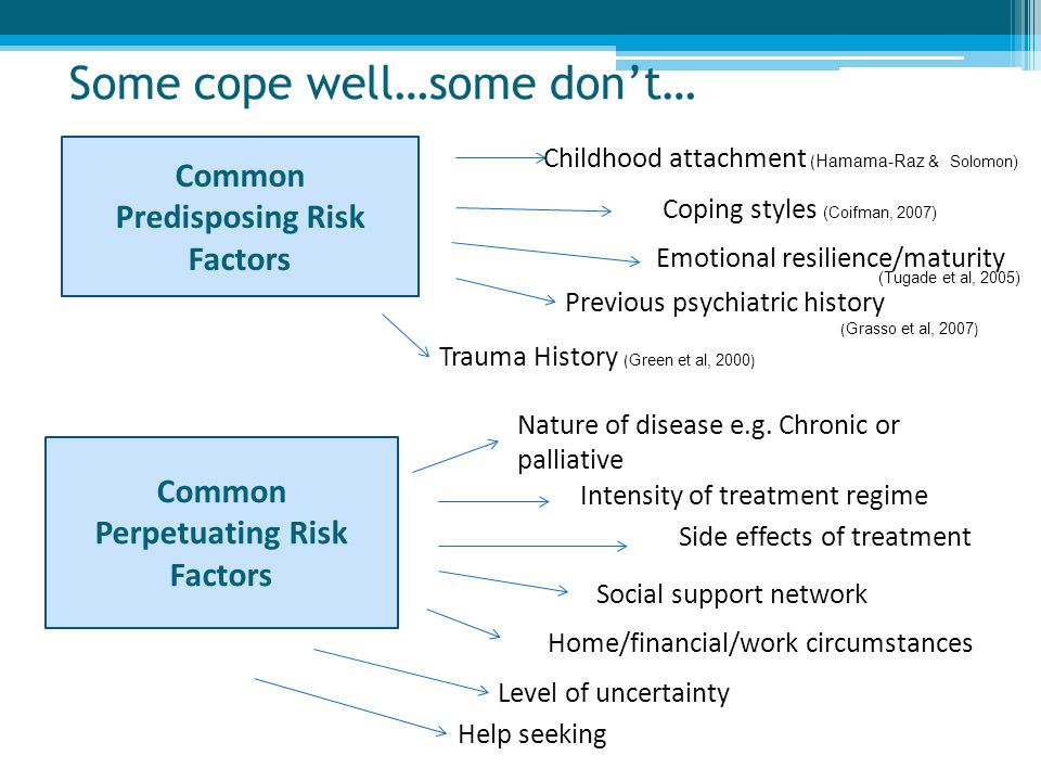 Some cope well…some don't… Common Predisposing Risk Factors Childhood attachment ( Hamama-Raz & Solomon) Coping styles (Coifman, 2007) Emotional resil