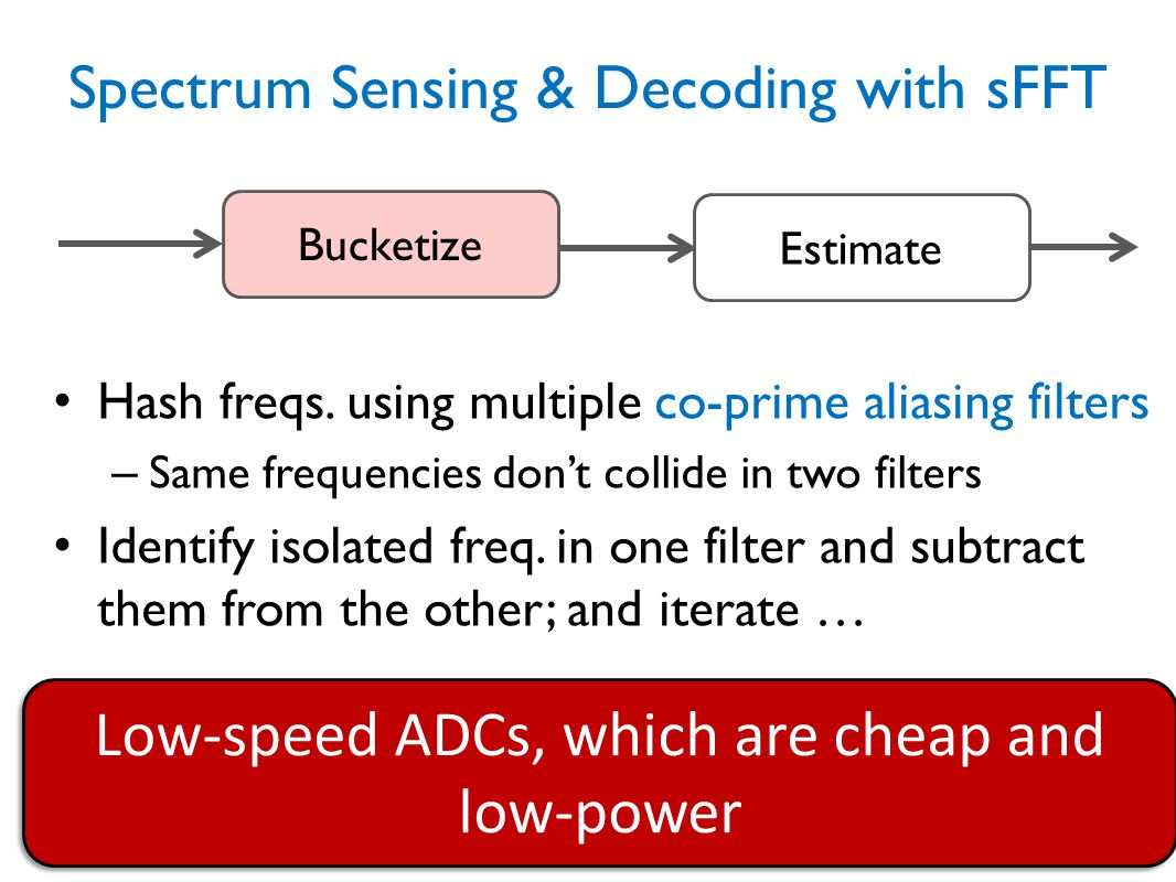 Spectrum Sensing & Decoding with sFFT Hash freqs. using multiple co-prime aliasing filters – Same frequencies don't collide in two filters Identify is