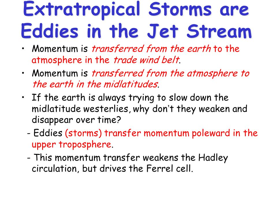 Extratropical Storms are Eddies in the Jet Stream Momentum is transferred from the earth to the atmosphere in the trade wind belt.