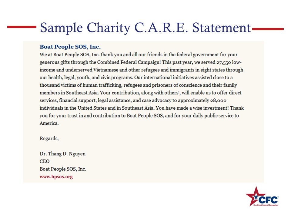 Sample Charity C.A.R.E. Statement