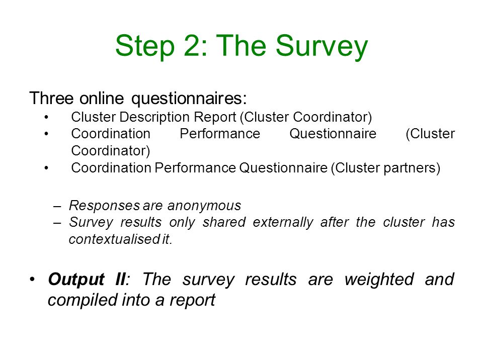 Step 2: The Survey Three online questionnaires: Cluster Description Report (Cluster Coordinator) Coordination Performance Questionnaire (Cluster Coordinator) Coordination Performance Questionnaire (Cluster partners) –Responses are anonymous –Survey results only shared externally after the cluster has contextualised it.