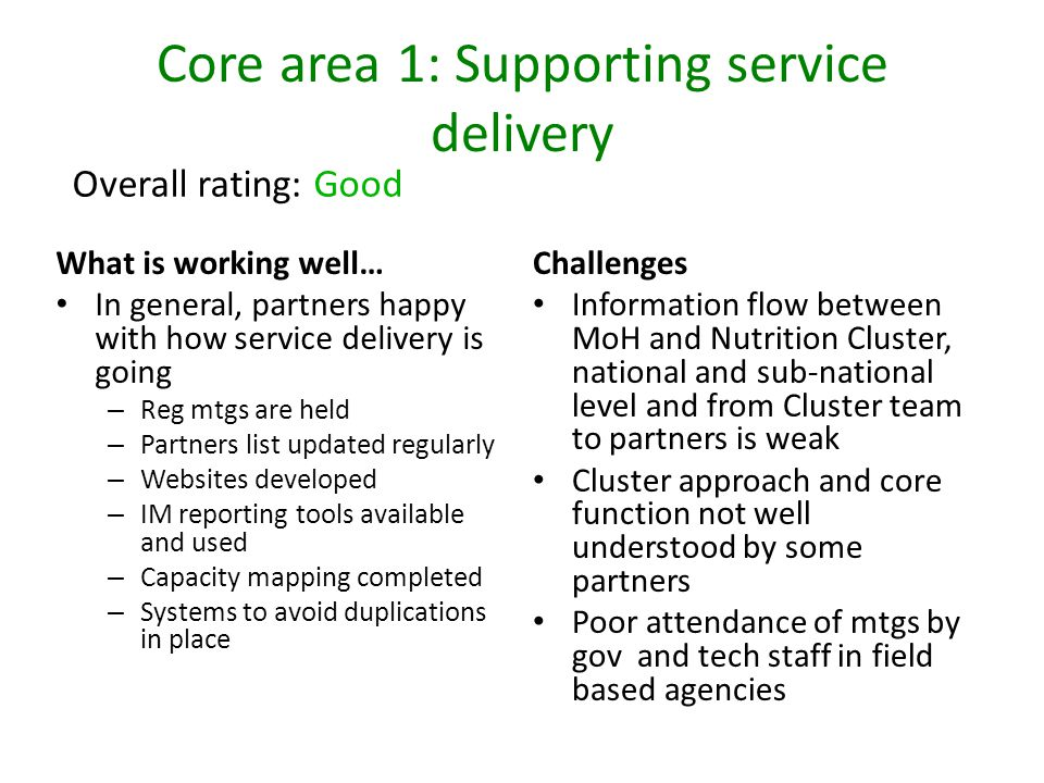 Core area 1: Supporting service delivery Challenges Information flow between MoH and Nutrition Cluster, national and sub-national level and from Clust