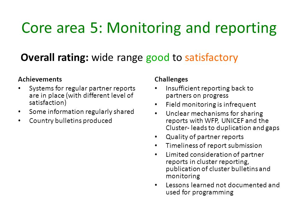 Core area 5: Monitoring and reporting Achievements Systems for regular partner reports are in place (with different level of satisfaction) Some inform