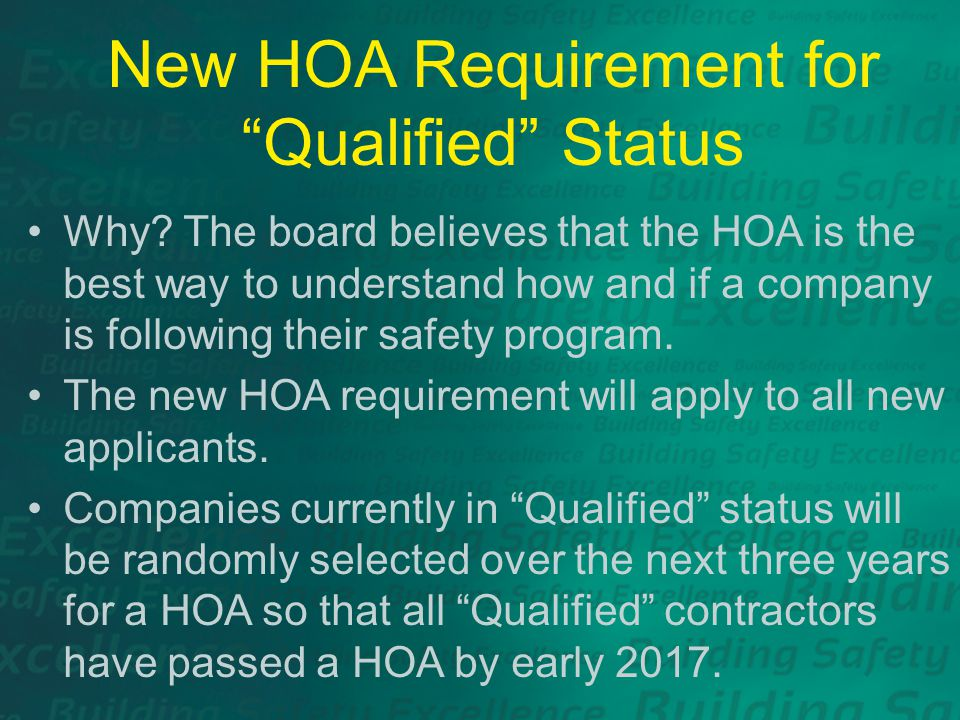 New HOA Requirement for Qualified Status Why.