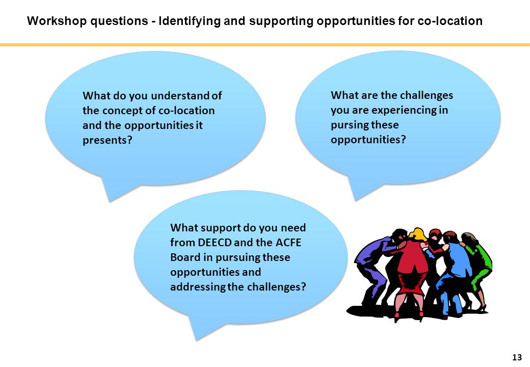 13 Workshop questions - Identifying and supporting opportunities for co-location What do you understand of the concept of co-location and the opportun