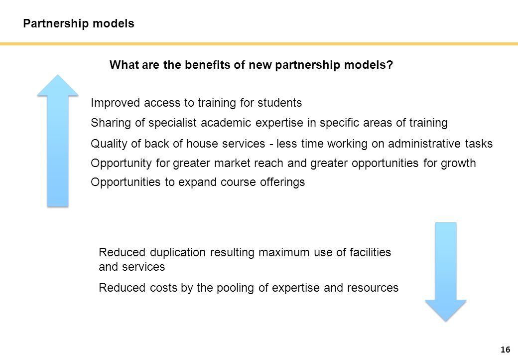 16 Partnership models What are the benefits of new partnership models.