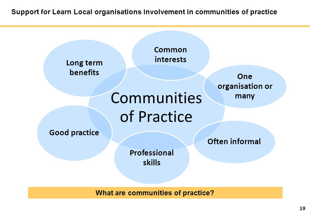 19 Support for Learn Local organisations involvement in communities of practice What are communities of practice.