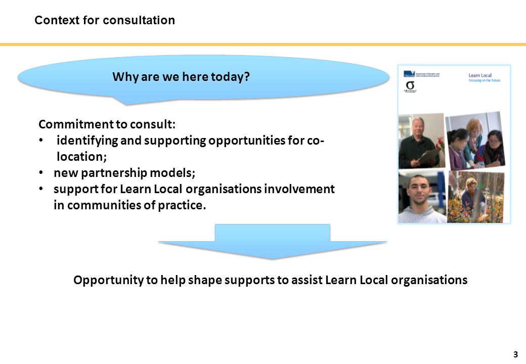 3 Context for consultation Why are we here today.