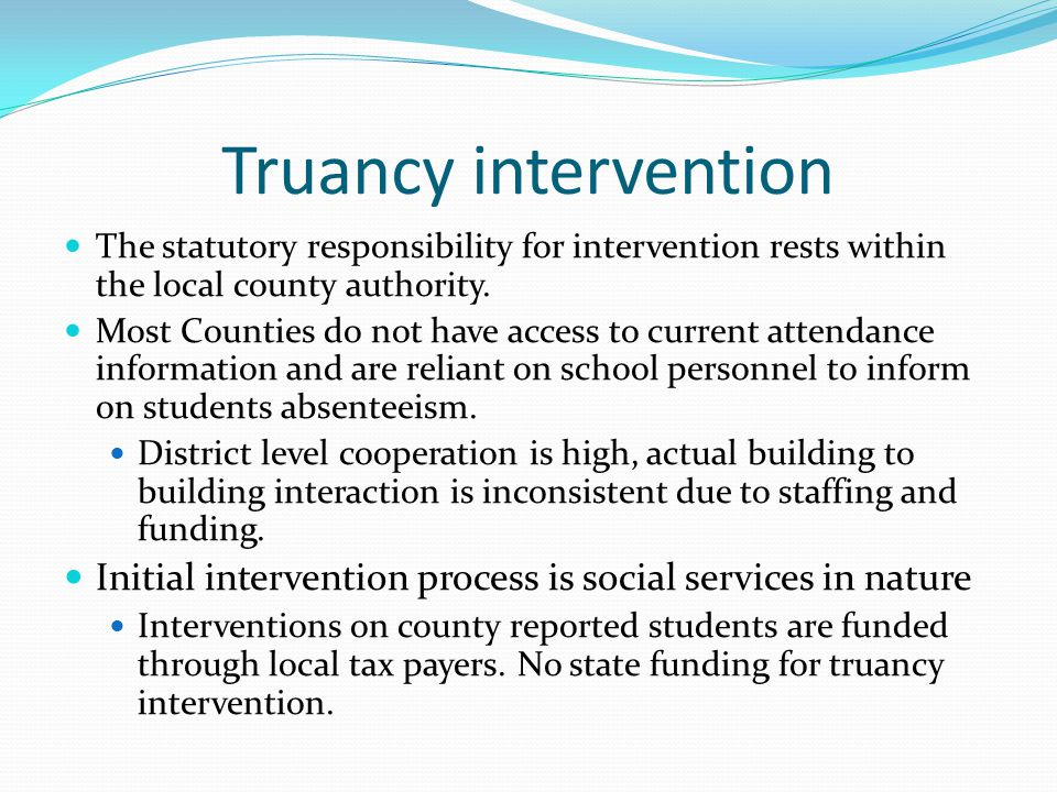 be@school Recommendations Create oversight structure within the Minnesota Department of Education for approval of intervention plans Improve data management and sharing via MARSS Encourage the State to create a better data tracking system with more current information so as to track students who drop out