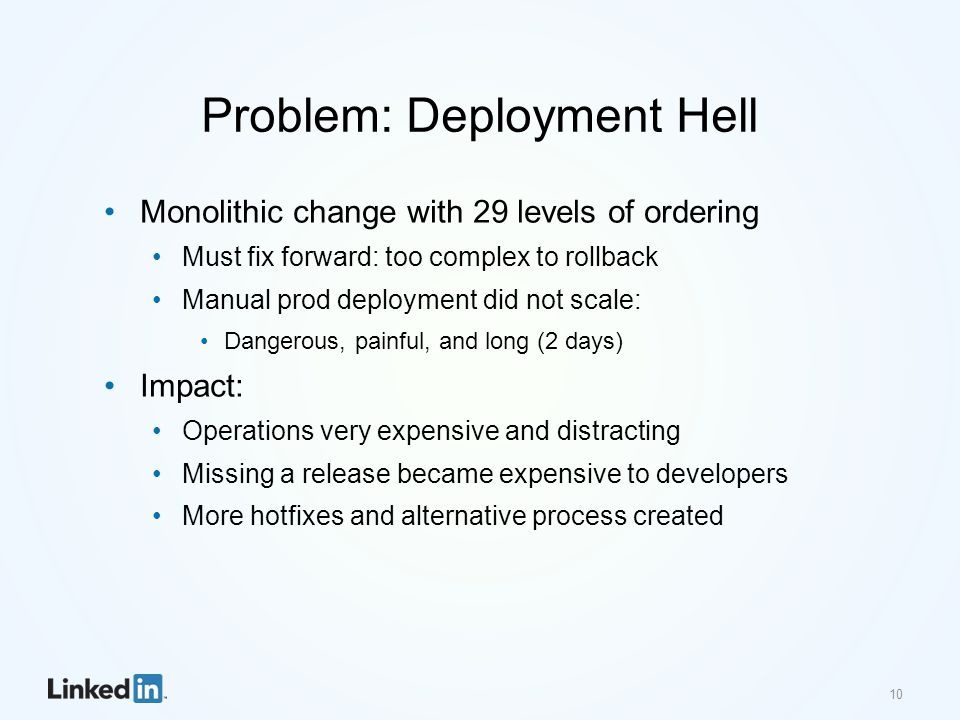 Problem: Deployment Hell Monolithic change with 29 levels of ordering Must fix forward: too complex to rollback Manual prod deployment did not scale: