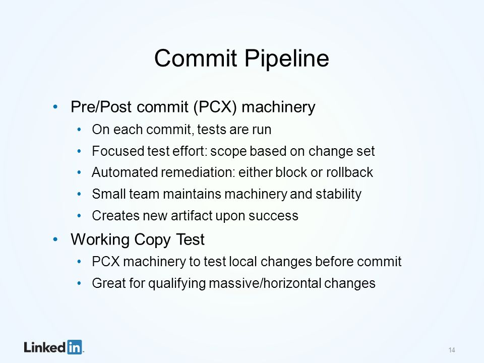 Commit Pipeline Pre/Post commit (PCX) machinery On each commit, tests are run Focused test effort: scope based on change set Automated remediation: ei