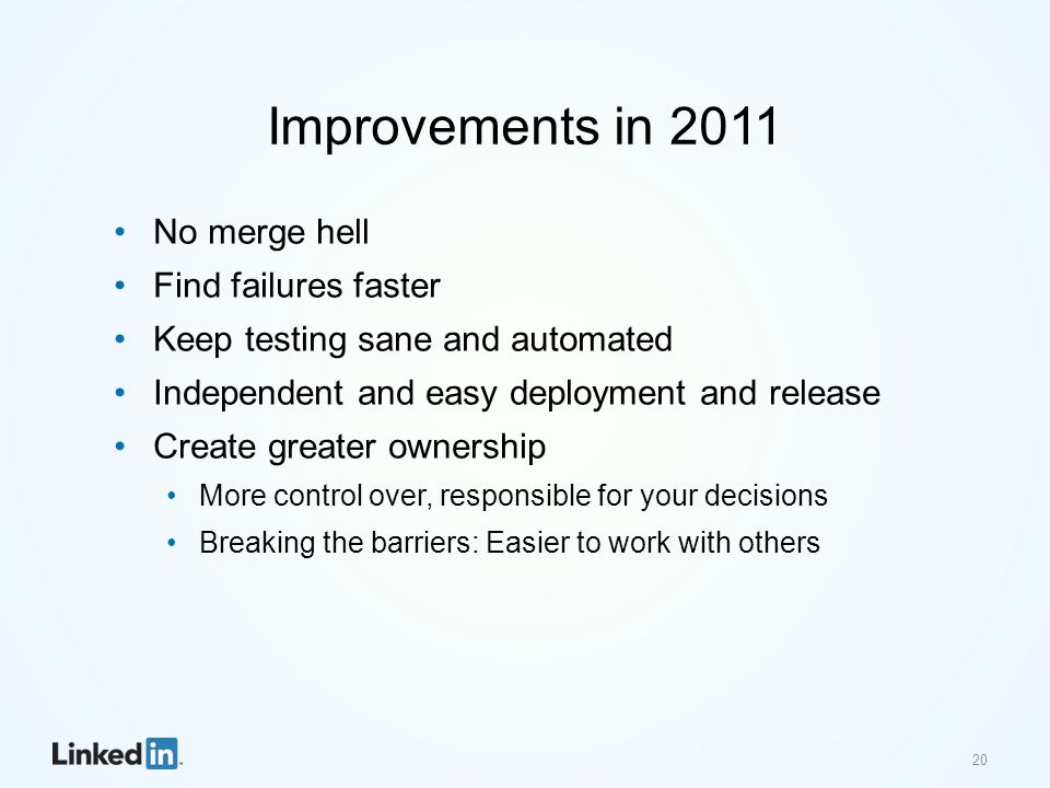 Improvements in 2011 No merge hell Find failures faster Keep testing sane and automated Independent and easy deployment and release Create greater own