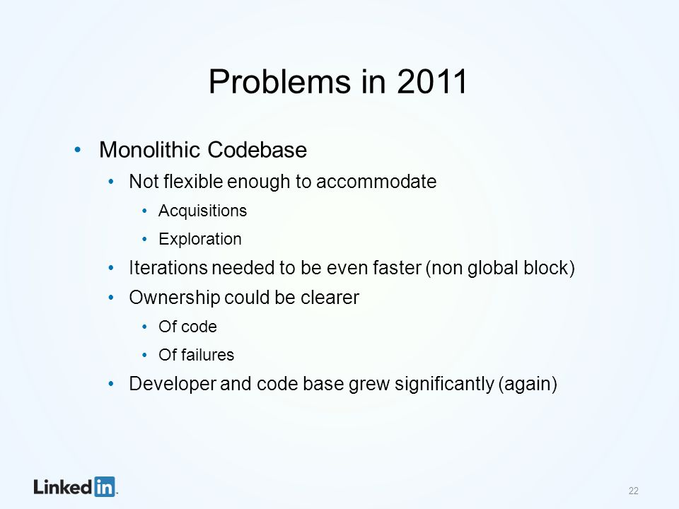 Problems in 2011 Monolithic Codebase Not flexible enough to accommodate Acquisitions Exploration Iterations needed to be even faster (non global block) Ownership could be clearer Of code Of failures Developer and code base grew significantly (again) 22