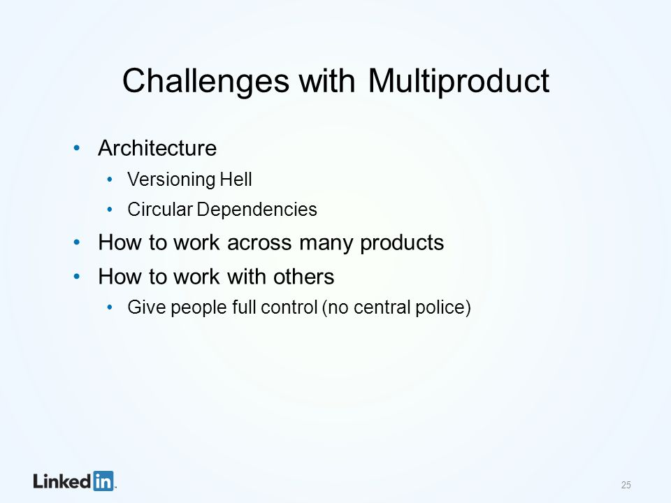 Challenges with Multiproduct Architecture Versioning Hell Circular Dependencies How to work across many products How to work with others Give people full control (no central police) 25