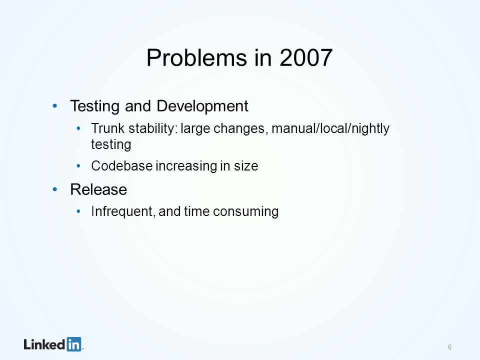 Problems in 2007 Testing and Development Trunk stability: large changes, manual/local/nightly testing Codebase increasing in size Release Infrequent,