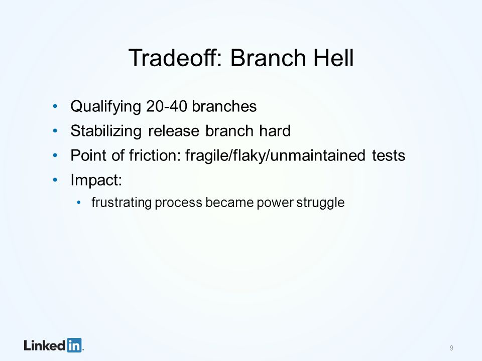 Tradeoff: Branch Hell Qualifying 20-40 branches Stabilizing release branch hard Point of friction: fragile/flaky/unmaintained tests Impact: frustrating process became power struggle 9