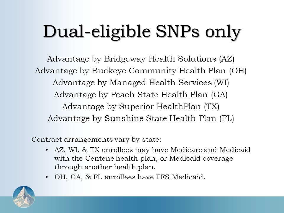 Advantage by Bridgeway Health Solutions (AZ) Advantage by Buckeye Community Health Plan (OH) Advantage by Managed Health Services (WI) Advantage by Peach State Health Plan (GA) Advantage by Superior HealthPlan (TX) Advantage by Sunshine State Health Plan (FL) Contract arrangements vary by state: AZ, WI, & TX enrollees may have Medicare and Medicaid with the Centene health plan, or Medicaid coverage through another health plan.