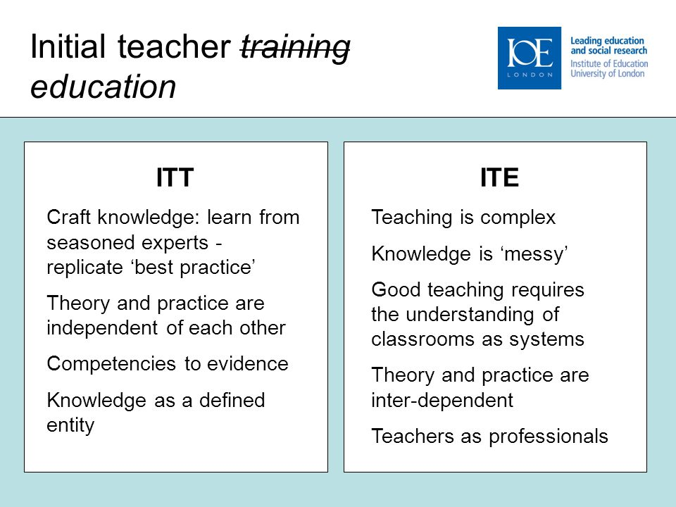 6 Initial teacher training education ITT Craft knowledge: learn from seasoned experts - replicate 'best practice' Theory and practice are independent