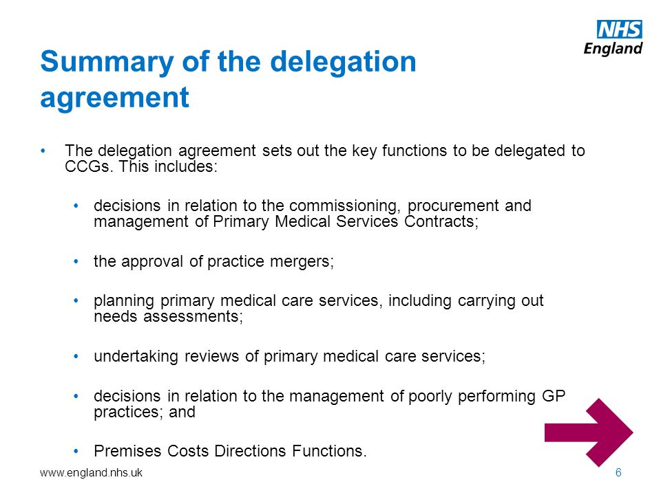 www.england.nhs.uk Premises Costs Directions Functions will be delegated to CCGs to give CCGs maximum flexibility and responsibility for the use of health spending in their geographic area.