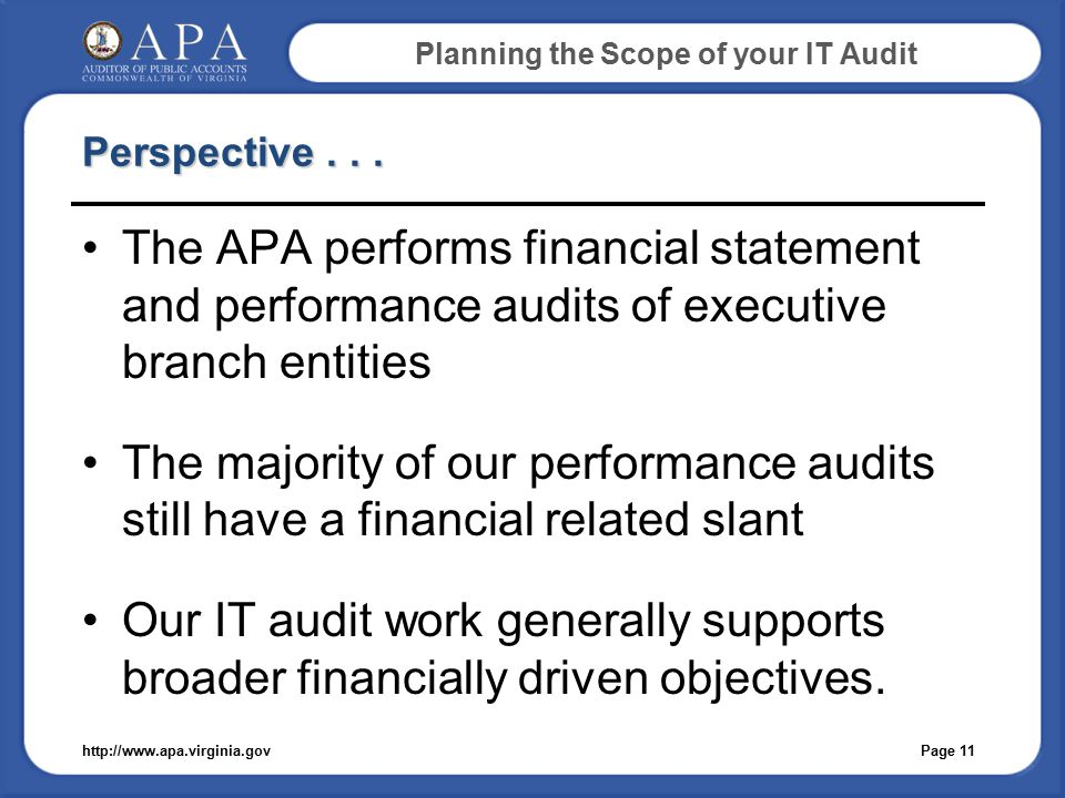 Planning the Scope of your IT Audit Perspective...
