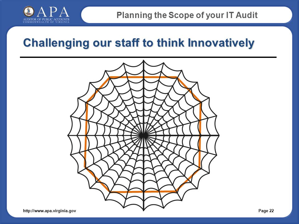 Planning the Scope of your IT Audit Challenging our staff to think Innovatively Page 22http://www.apa.virginia.gov