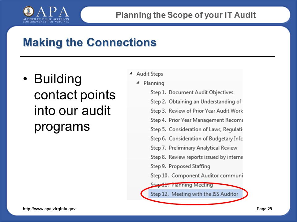 Planning the Scope of your IT Audit Making the Connections Building contact points into our audit programs Page 25http://www.apa.virginia.gov