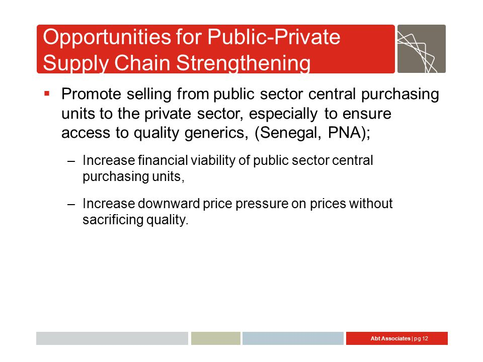 Abt Associates | pg 12 Opportunities for Public-Private Supply Chain Strengthening  Promote selling from public sector central purchasing units to the private sector, especially to ensure access to quality generics, (Senegal, PNA); –Increase financial viability of public sector central purchasing units, –Increase downward price pressure on prices without sacrificing quality.