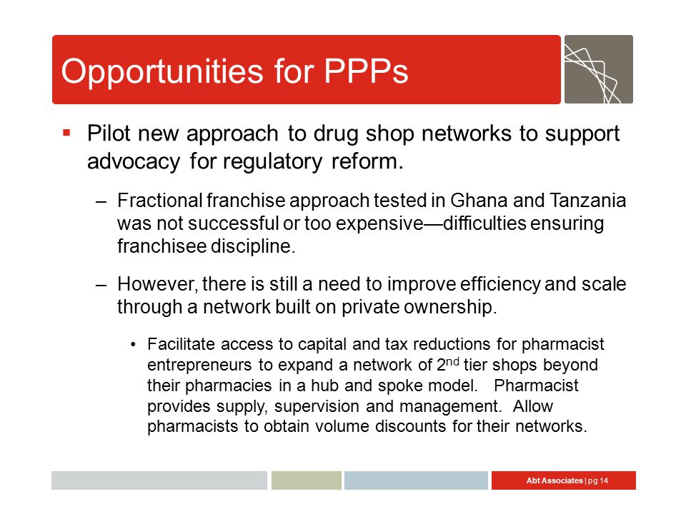 Abt Associates | pg 14 Opportunities for PPPs  Pilot new approach to drug shop networks to support advocacy for regulatory reform.