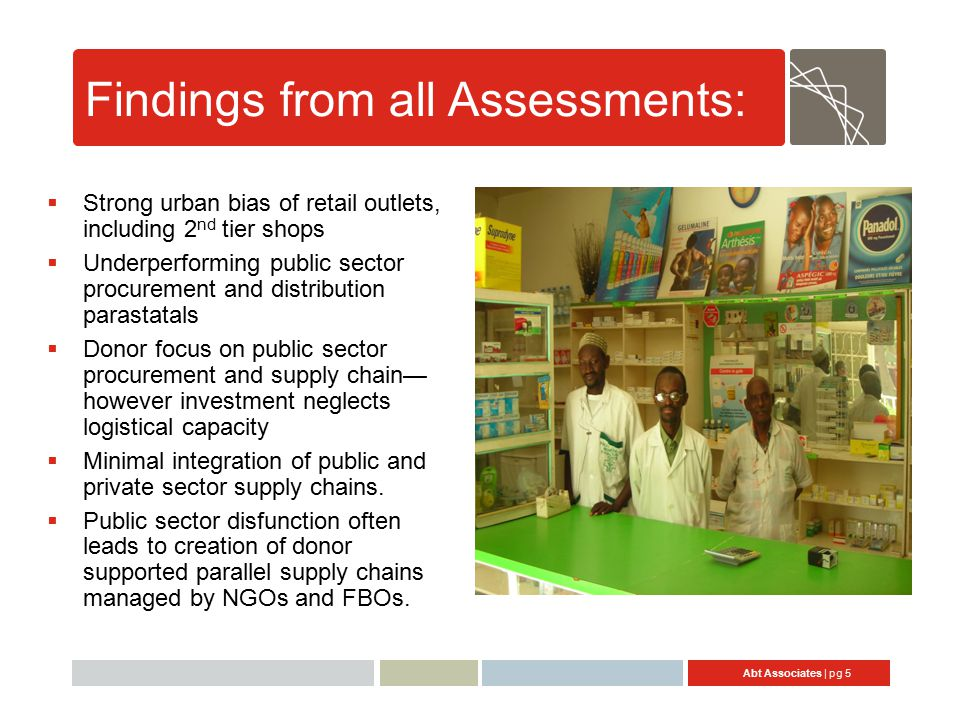 Abt Associates | pg 5 Findings from all Assessments:  Strong urban bias of retail outlets, including 2 nd tier shops  Underperforming public sector procurement and distribution parastatals  Donor focus on public sector procurement and supply chain— however investment neglects logistical capacity  Minimal integration of public and private sector supply chains.