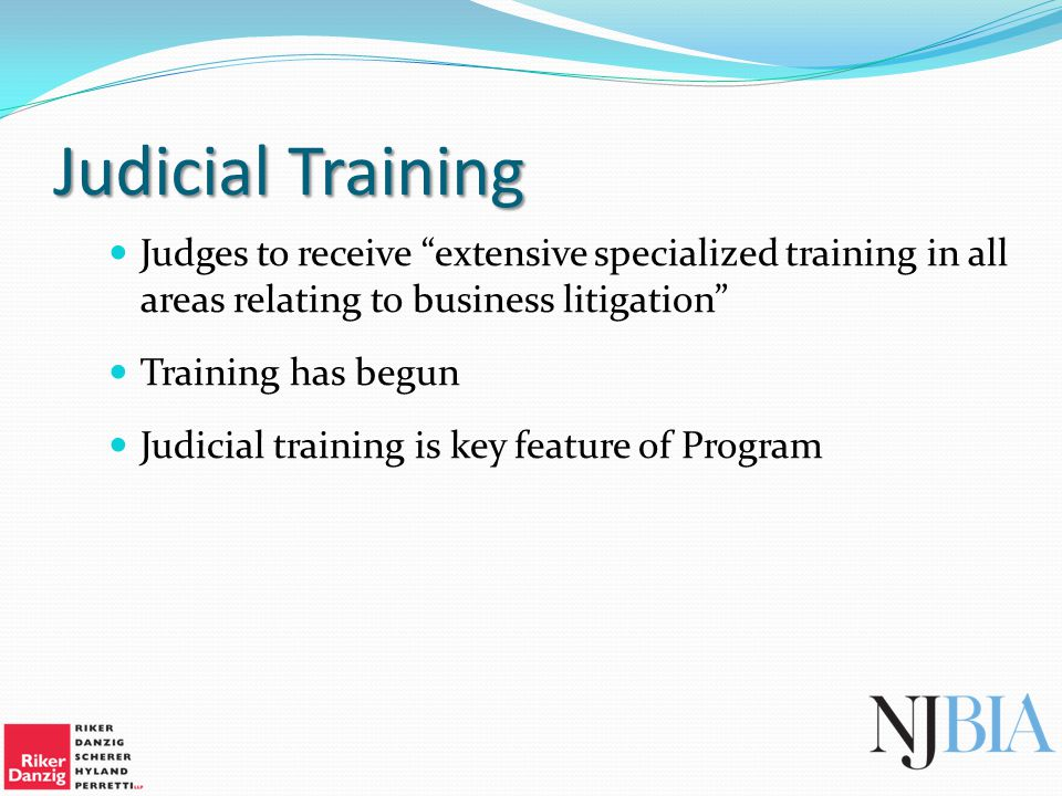 Judicial Training Judges to receive extensive specialized training in all areas relating to business litigation Training has begun Judicial training is key feature of Program