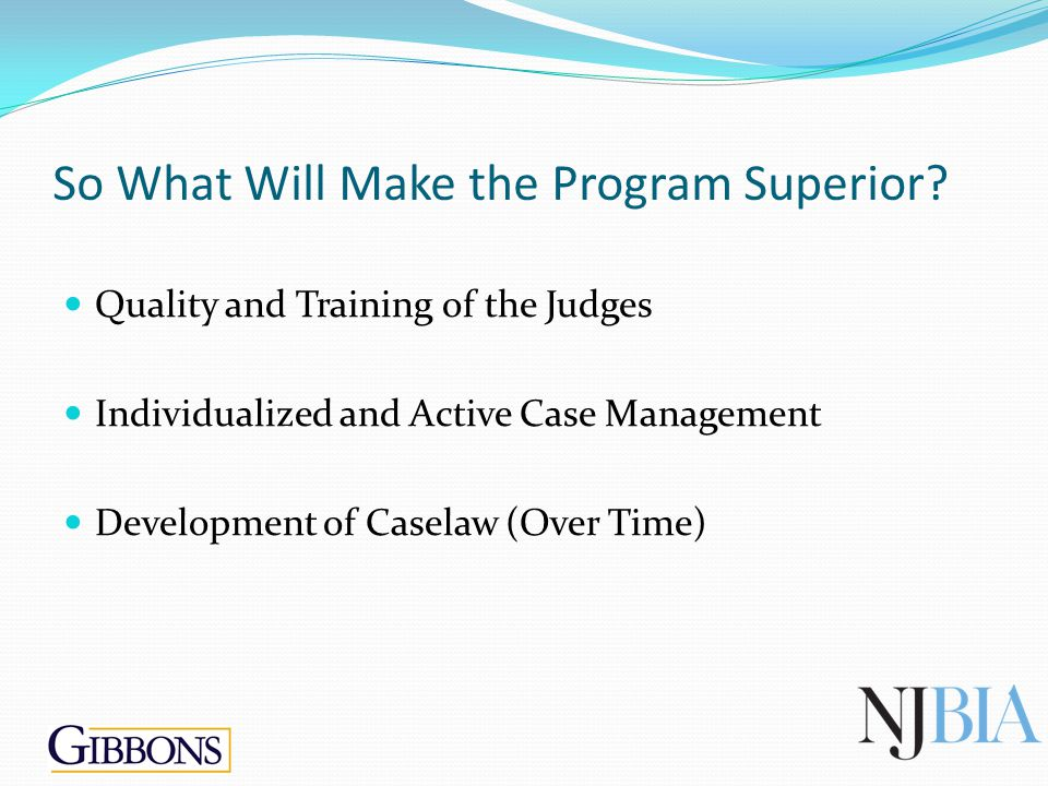So What Will Make the Program Superior? Quality and Training of the Judges Individualized and Active Case Management Development of Caselaw (Over Time