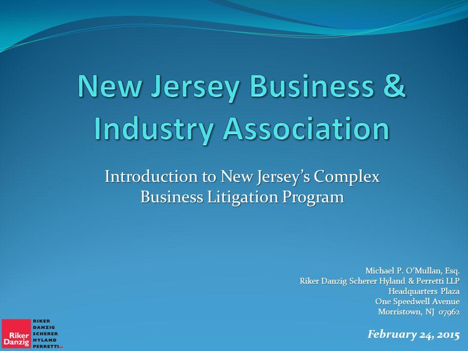IMPLEMENTATION OF COMPLEX BUSINESS LITIGATION PROGRAM Michael P.