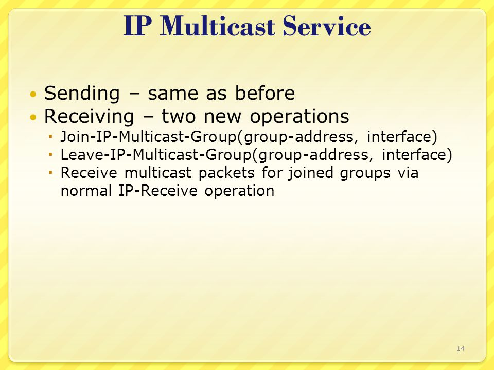 14 IP Multicast Service Sending – same as before Receiving – two new operations  Join-IP-Multicast-Group(group-address, interface)  Leave-IP-Multica