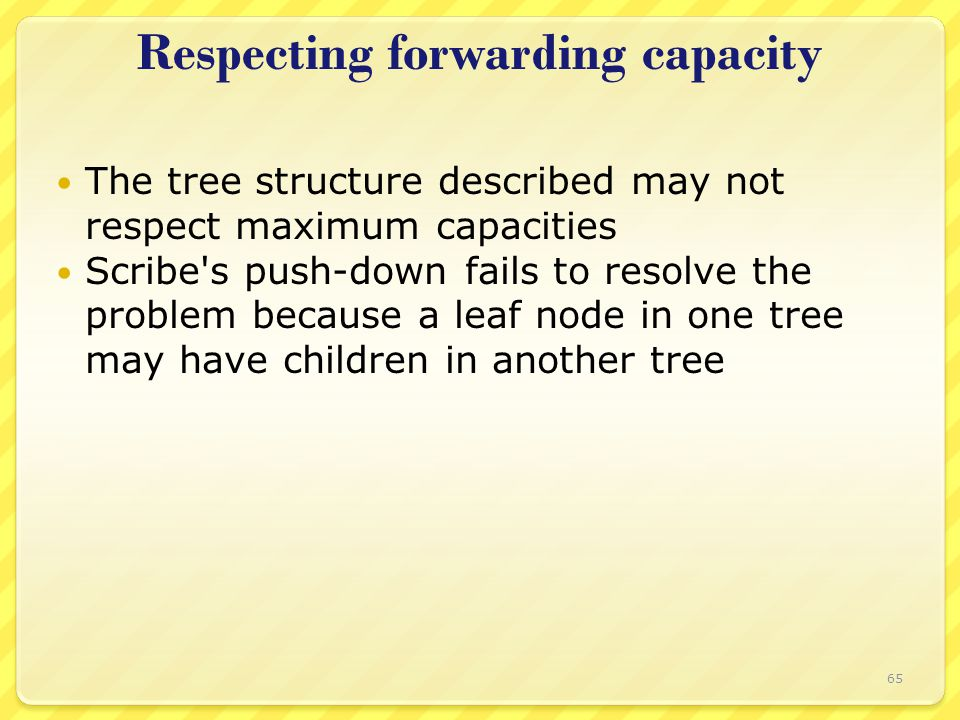 Respecting forwarding capacity The tree structure described may not respect maximum capacities Scribe s push-down fails to resolve the problem because a leaf node in one tree may have children in another tree 65