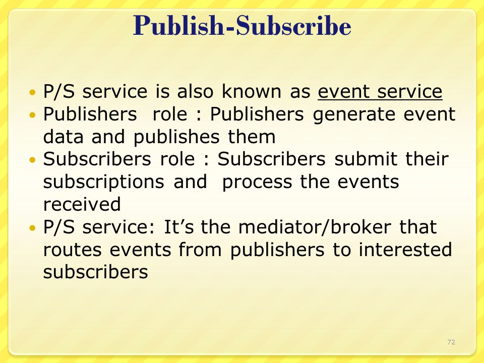 P/S service is also known as event service Publishers role : Publishers generate event data and publishes them Subscribers role : Subscribers submit t