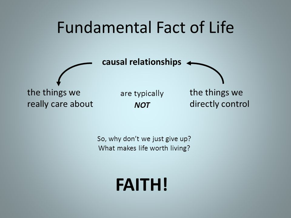 Fundamental Fact of Life causal relationships the things we really care about FAITH! the things we directly control are typically NOT So, why don't we