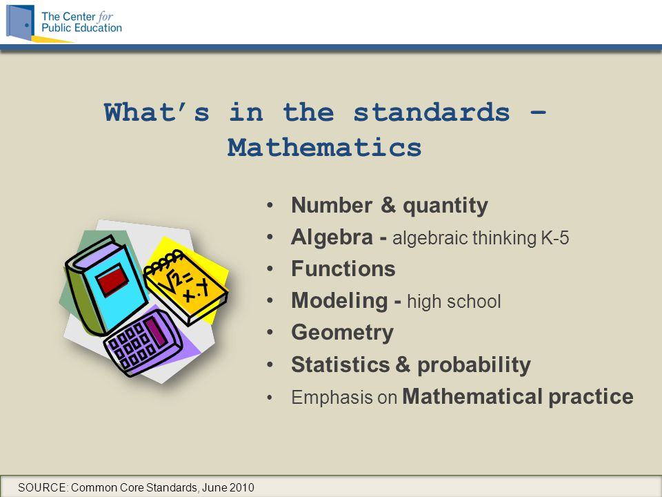 What's in the standards – Mathematics Number & quantity Algebra - algebraic thinking K-5 Functions Modeling - high school Geometry Statistics & probability Emphasis on Mathematical practice SOURCE: Common Core Standards, June 2010